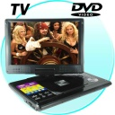 DVD Player-TV - Portable Multimedia DVD Player with 12 Inch Widescreen. This is a fantastic, fully-featured portable DVD Player with a large 12 Inch TFT LCD Screen providing a crisp display, and a great feature set that effortlessly combines music, video and image functionality into one stylish unit. The high-quality 12 Inch screen can be rotated 180 degrees and is complemented by the impressive sound output from the two built-in 2W stereo speakers.