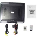 Package Content - Roof mounted TFT LCD monitor with a large 13.3 inch display. This is a great video accessory for keeping the kids entertained, company vehicles that often escort guests, regular carpools, or just personal use. This ceiling mount LCD screen features 2 AV IN for connecting different video devices to the screen, including DVD players, video game player, rearview camera, etc. It has an IR audio transmitter, meaning it broadcast its audio signal to an IR