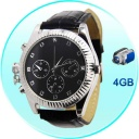 Secret Agent  - This is a high class surveillance DVR wrist watch, encased in polished stainless steel and held to your wrist with black leather straps. Record hours of video footage with this DVR wrist watch thanks to the 4GB internal flash memory, and view the artistic fruits of your labor, with a simple connection of the DVR spy watch to your laptop computer using the USB cable provided.