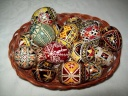 Egg - 0006 - Decorated eggs with traditional geometric motifs and colours that are typical of zone.  Size: hen egg.  Price: 2 €