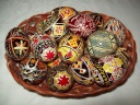 Egg - 0008 - Decorated eggs with traditional geometric motifs and colours that are typical of zone.  Size: hen egg.  Price: 2 €