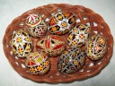 Egg - 0011 - Decorated eggs with traditional geometric motifs and colours that are typical of zone.  Size: hen egg.  Price: 2 €