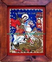 ICO-0008 - Pret 100 € Glass icon Saint George killind the dragon. Icon on glass painted in oil with gold-foil, in rural style; Sizes:36cm/25 cm . Icoana pe sticla Sf.Gheorghe ucigand balaurul. Icoana pe sticla pictata in ulei cu foita de aur, in stil taranesc;Dimensiuni:36cm/25 cm .
